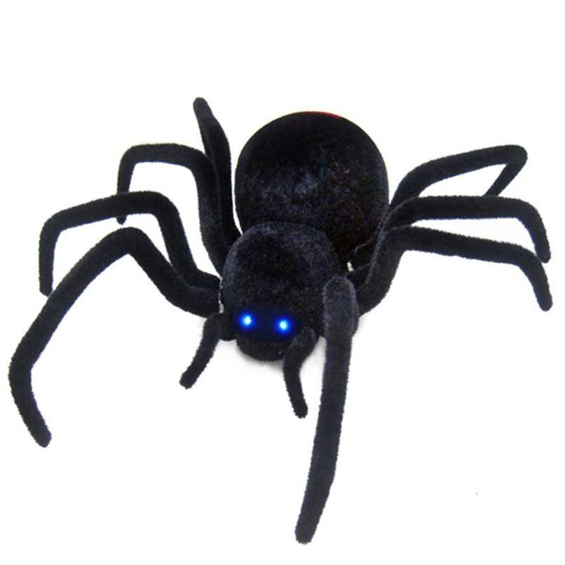 Abbyfrank Realistic Rc Simulation Animal Plush Creepy Spider Remote Control Kids Toys Fake Crawl Prank Trick Halloween Gift цена