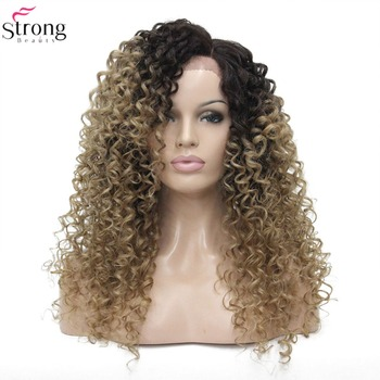 StrongBeauty Synthetic Lace Front Wigs Ombre Blonde Lace Hair Kinky Curly Wig For Women