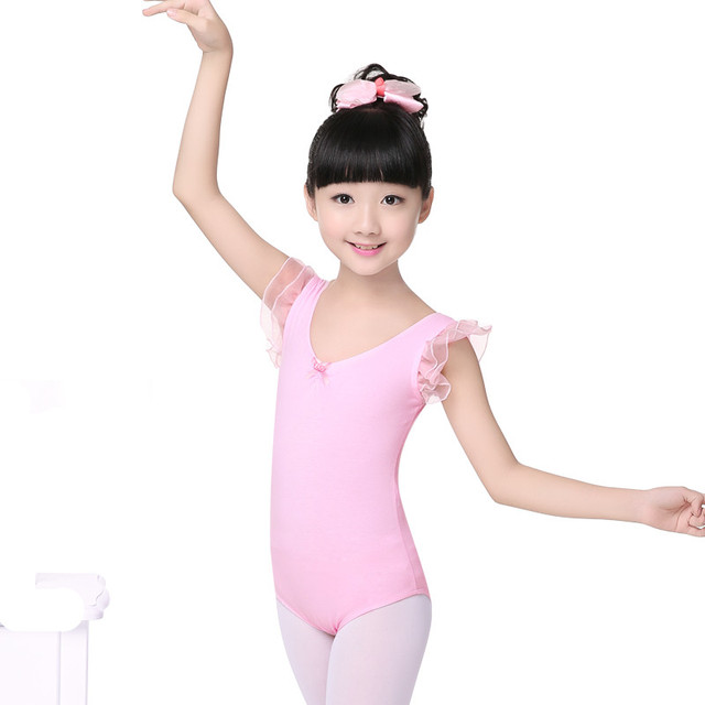 be362c6b4 Girls Flutter Sleeve Gymnastic Leotards Kids Dance costume Body ...