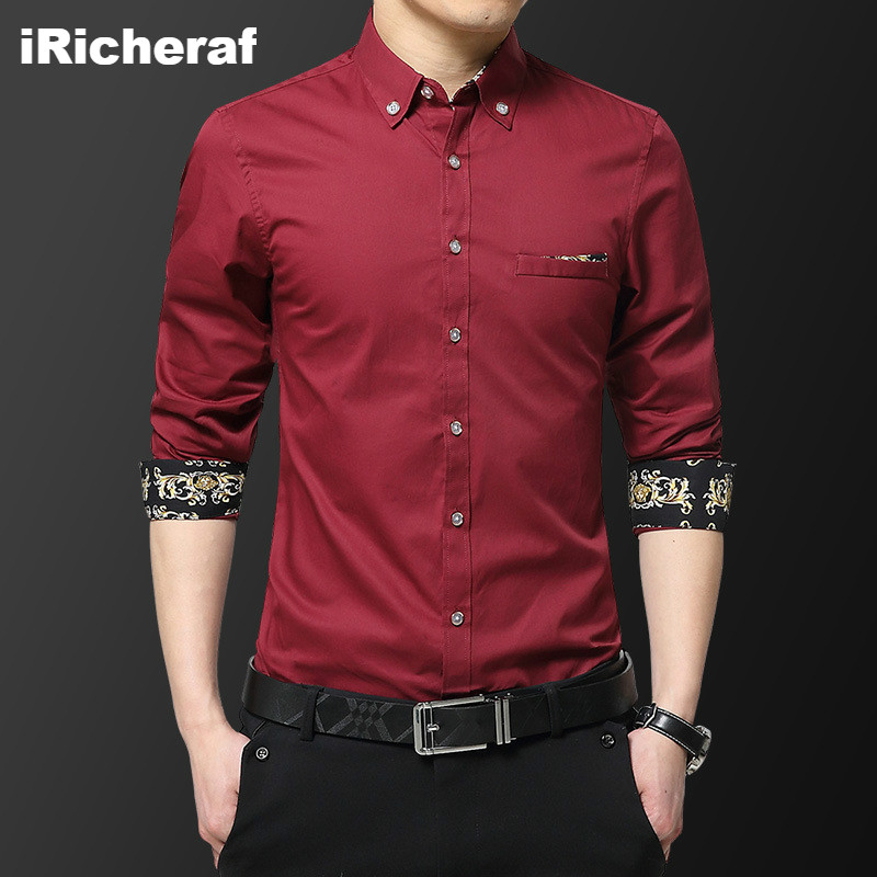 iRicheraf Fashion New Street Wear Men Shirts Vestido Casual Azul Royal Full Sleeve Korean Shirt  Dropshipping 2019 High Quality