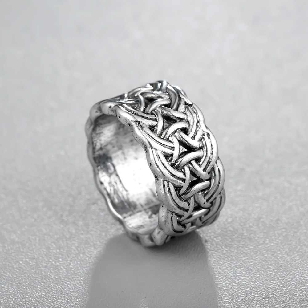 CHENGXUN Infinite Twisted กว้างแหวนแฟชั่นนอร์สไวกิ้ง Mens แหวนสแกนดิเนเวียนนอร์สเครื่องประดับขนาด 9