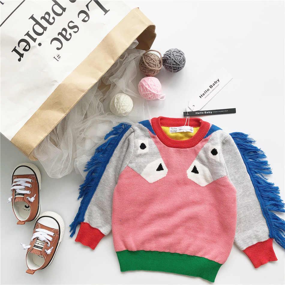 2018 осенне-зимняя одежда для маленьких мальчиков, свитера с рисунком лошади для девочек, одежда для мальчиков, одежда для девочек, vestido, Рождественская Детская одежда с единорогом