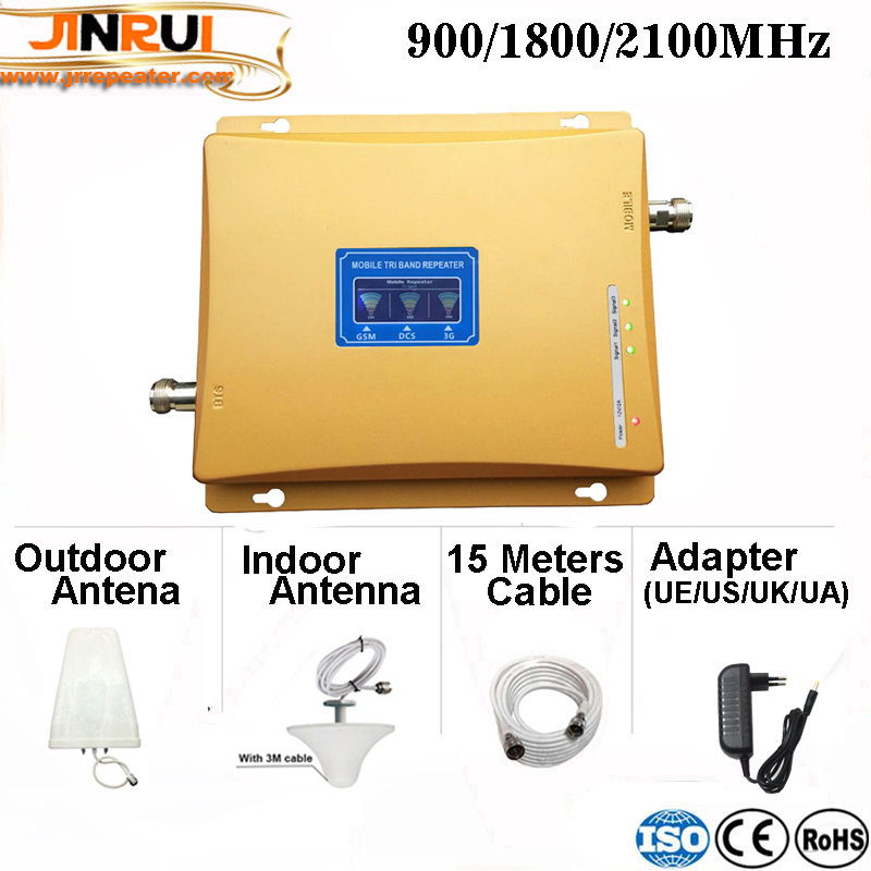 Tri Band Mobile Signal Repeater GSM 2G 3G 4G GSM 900 DCS LTE 1800 WCDMA UMTS