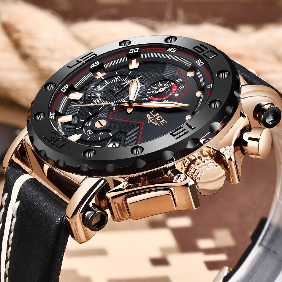 LIGE Nouvelle Mens Montres Haut Marque De Luxe Grand Cadran Hommes Militaire Sport Quartz Montre De Mode En Cuir Décontractée Mâle Étanche Horloge