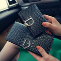 2016 New Women Long Wallet D Letter Lady Purse Snake Pattern Women Wallets Soft Surface Women Wallets Three Folds