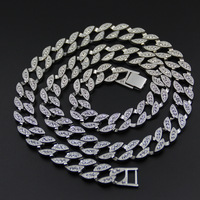 18 K White Gold Iced Out CUBAN Miami Chain Link Micro Pave Lab CZ Stone Necklace 140g 76CM 30INCH 15MM Wide
