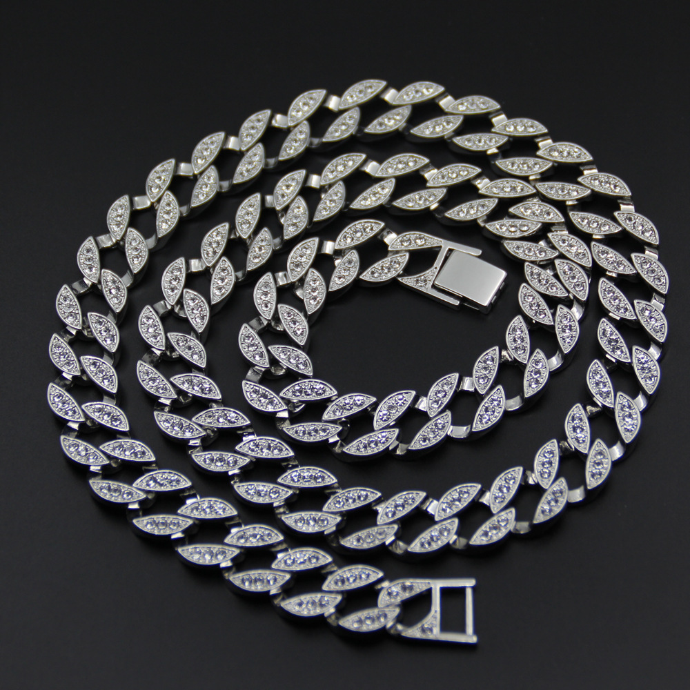 Necklaces & Pendants 18 K White Gold Iced Out Cuban Miami Chain Link Micro Pave Lab Cz Stone Necklace 140g 76cm 30inch 15mm Wide Removing Obstruction