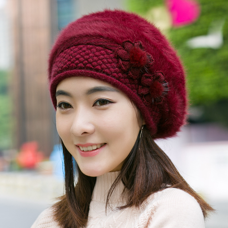 2018 The New Adult Women Casual Solid Womens Hair Warm Winter Hat Beret Spot Wholesale Manufacturers Direct Sales
