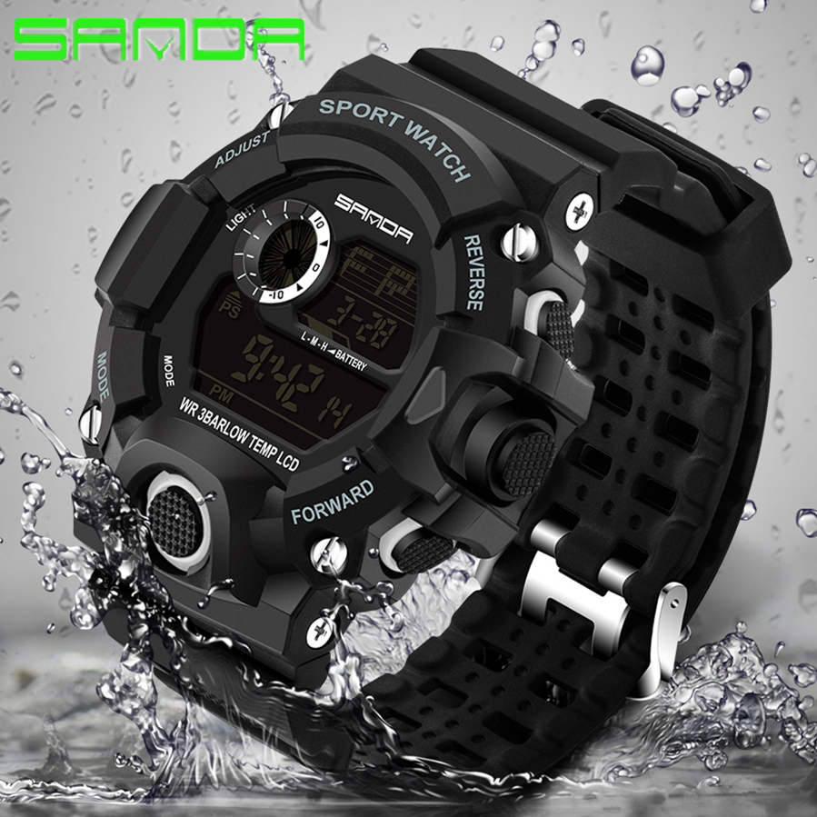 SANDA Watches Men Clock Shock G-Style Digital Outdoor Waterproof Electronic Sport Male