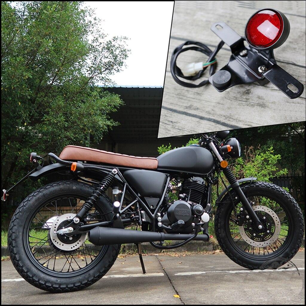 Universal vintage motorcycle custom classic LED Round Rear Light cafe racer  brake light stoplight stop lamp with bracket ECE