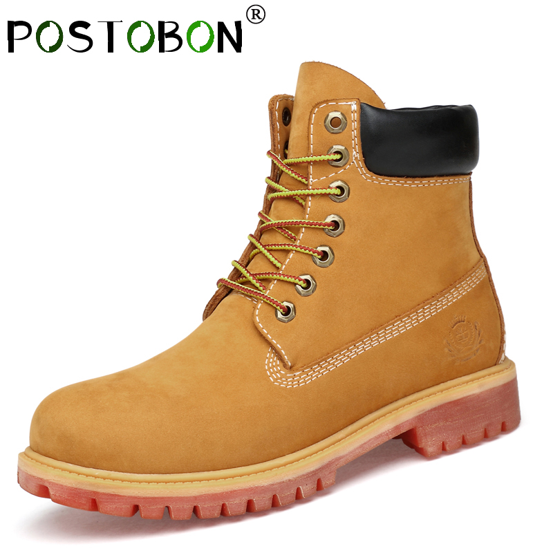 Men Casual Big Size36-47 Genuine Leather Boots Men Waterproof Suede Autumn Winter Boots High Top Ankle Snow High Quality Shoes