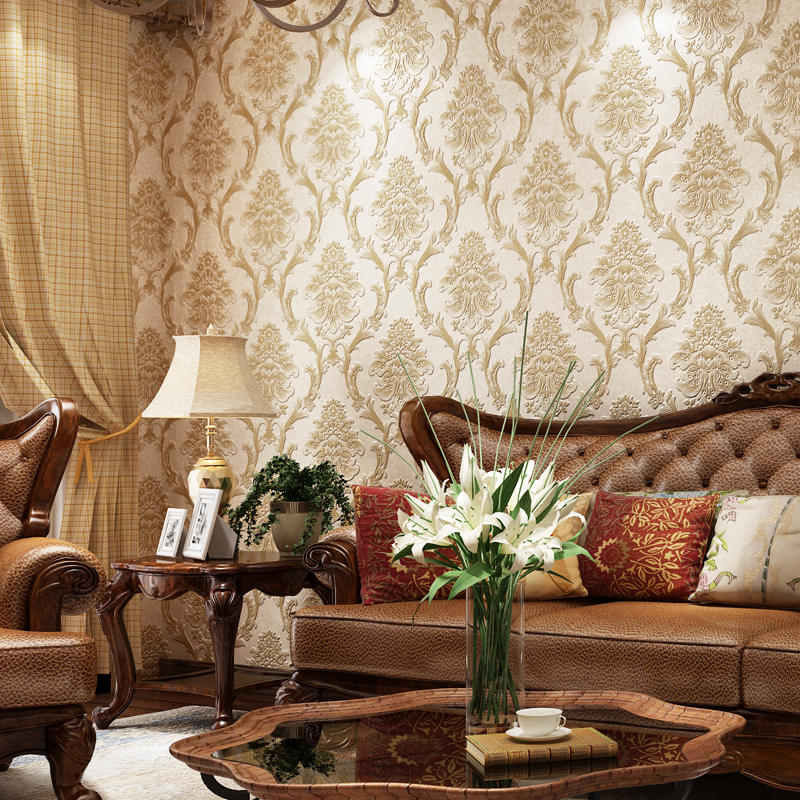 European Style 3D Relief Non-woven Wallpaper Luxury Damascus Bedroom Living Room TV Background Wall Covering Papel De Parede blue european style 3d stereoscopic relief damask tv background wall paper flower luxury bedroom living room non woven wallpaper