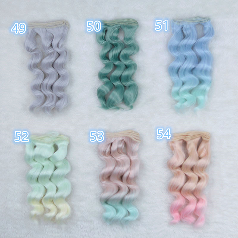 15 100cm Colorful Wavy BJD SD DIY Wigs High temperature Fiber Wire 1 3 1 4 1 6 Dolls Noodle Curly Wig Handmade Doll Accessories in Dolls Accessories from Toys Hobbies