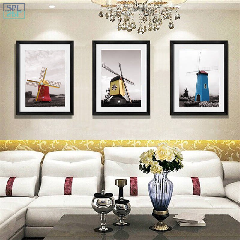 SPLSPL Modern Minimalist Cuadros Decoration Windmill Landscape Canvas Wall Art Print Poster Pictures For Living Room No Frame