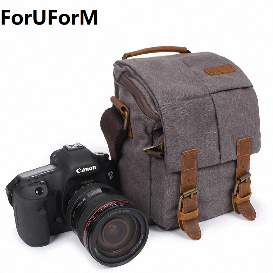 Photo Bag Waterproof Canvas Vintage Shoulder DSLR Camera Bag Case for Nikon Canon LI-2009 jealiot multifunctional professional camera shoulder bag waterproof shockproof big digital video photo bag case for dslr canon