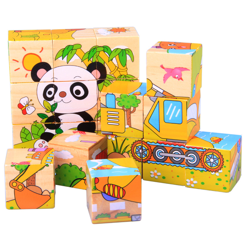 New Fashion Kids Favorite!!wooden 3d Jigsaw Puzzle 6 Pictures Children Early Education Toys Birthday Gifts