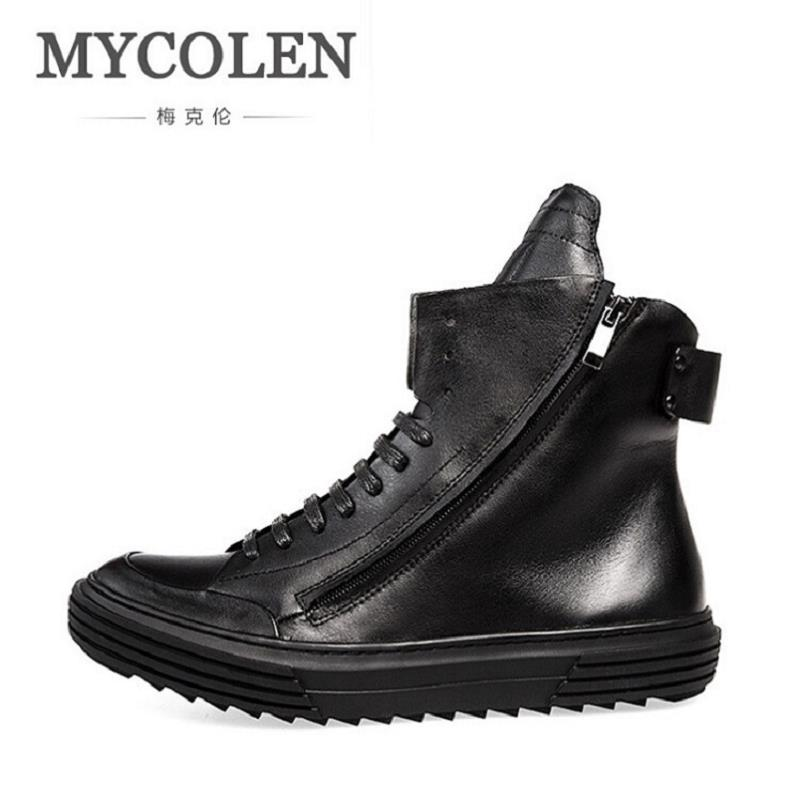 MYCOLEN New Autumn Winter British Retro Men Shoes Leather Casual Boots High Top Shoes Martin Breathable Sneake Boots Men Zipper martin boots men s high boots korean shoes autumn winter british retro men shoes front zipper leather shoes breathable