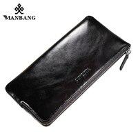 ManBang 2017 Men Wallet Long Designer Zipper Leather Male Purse Brand Mens Clutch Handy Bag Luxury