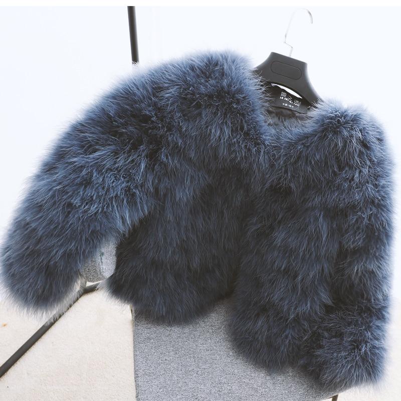 100% vestes de fourrure de fièvre de plume moelleuse faites à la main tricoté véritable manteau de fourrure d'autruche femmes vente au détail en gros gris fourrure moelleuse fièvre - 4