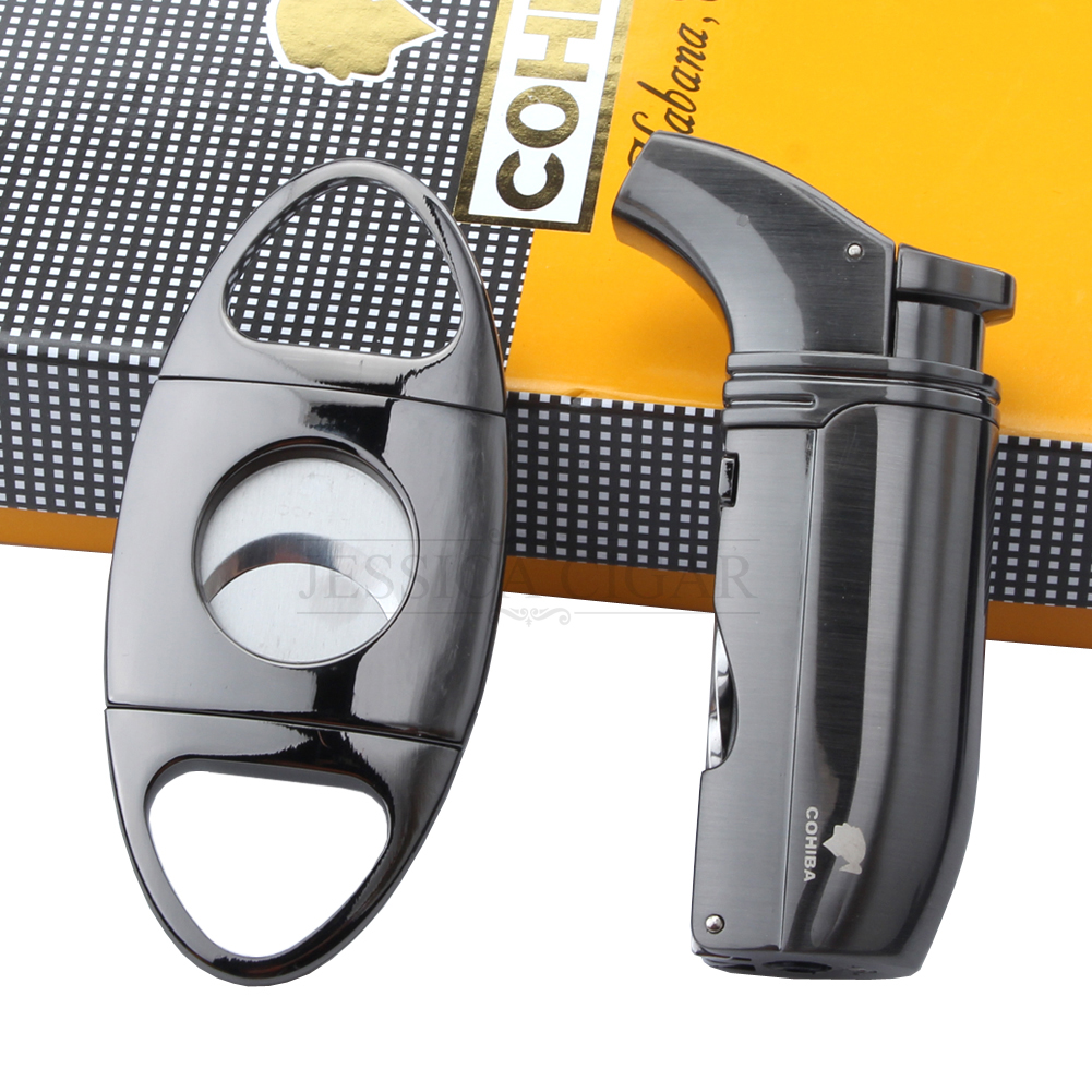 600ad25f4 COHIBA Cigar Gift Set Windproof Lighters 2 Jet Flame Torch Double Blades  Cigar Cutter Cigarette Lighters-in Lighters from Home   Garden on  Aliexpress.com ...