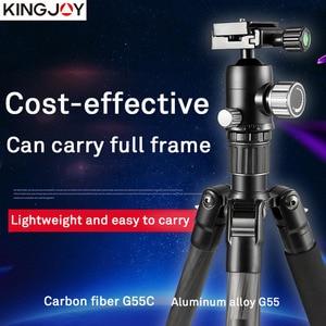 Image 2 - KINGJOY הרשמי G55 מקצועי סיבי פחמן נייד חצובה חדרגל Stand כדור ראש עבור נסיעות DSLR מצלמה צילום