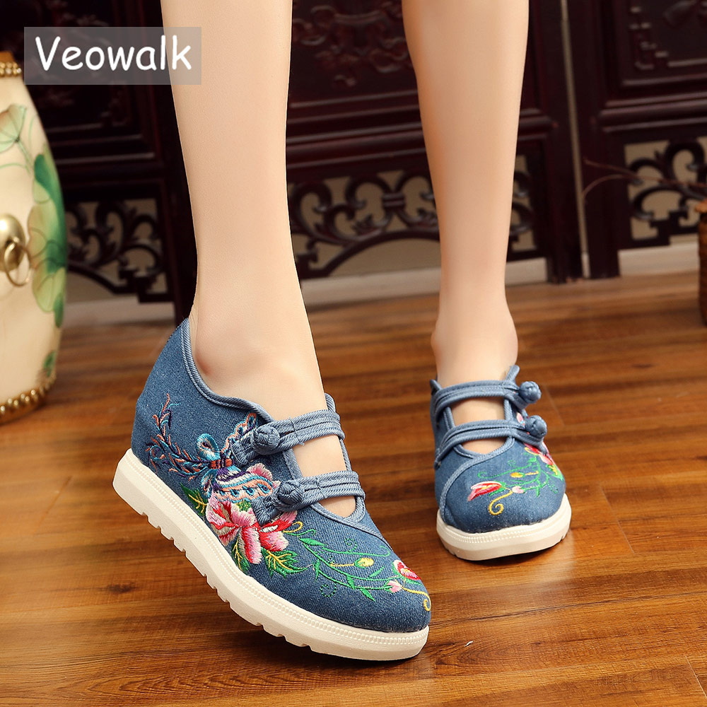 Veowalk Hidden Platform Women Casual Canvas Embroidered Sneakers Shoes Dual Buckle Design Ladies Denim Jeans Thick Bottom Shoes