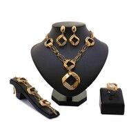 Atacado Moda de Nova Ouro-cor Beads Africanos Jóias Define Dubai Conjuntos de Jóias de Casamento Traje Romântico Projeto Longo