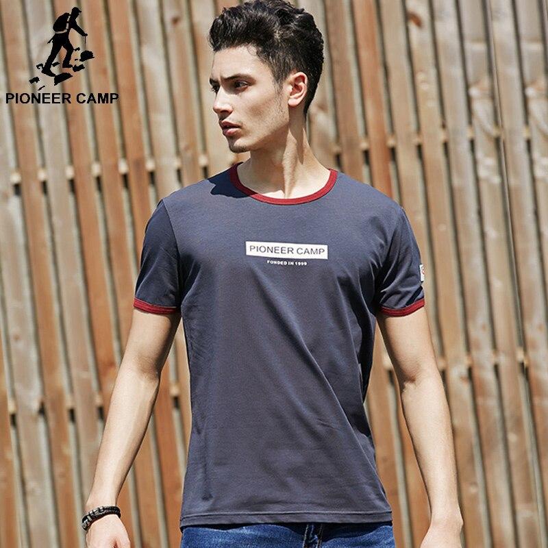 78c31fd9bbb9 Pioneer Campo di Estate Lettere Stampate T-Shirt Da Uomo 95% Cotone casuale  manica