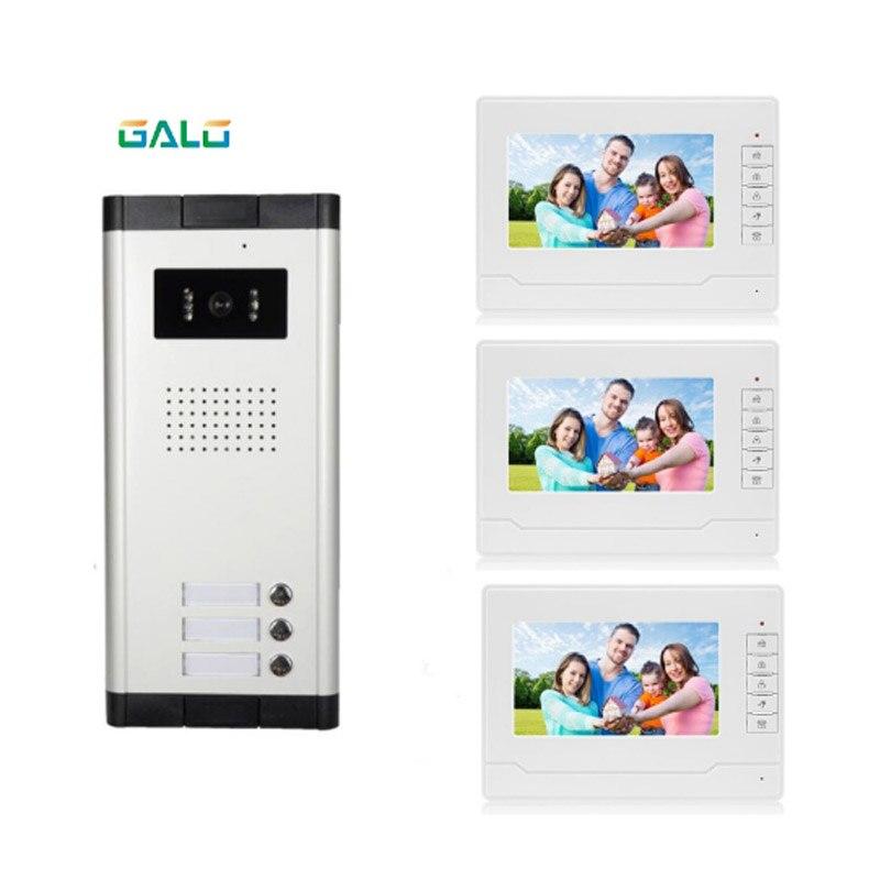 Video Doorbell 7 Inch Memory Video Doorphone Multi Apartments Building Doorbell For 3 Family