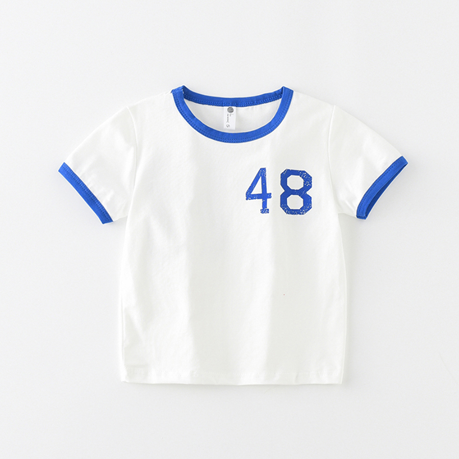 JN18907 Summer Top Kids Clothes Boys T-shirt Girls child Number 48 print T shirt Summer Baby sports Tees Kids TShirt 100% Cotton
