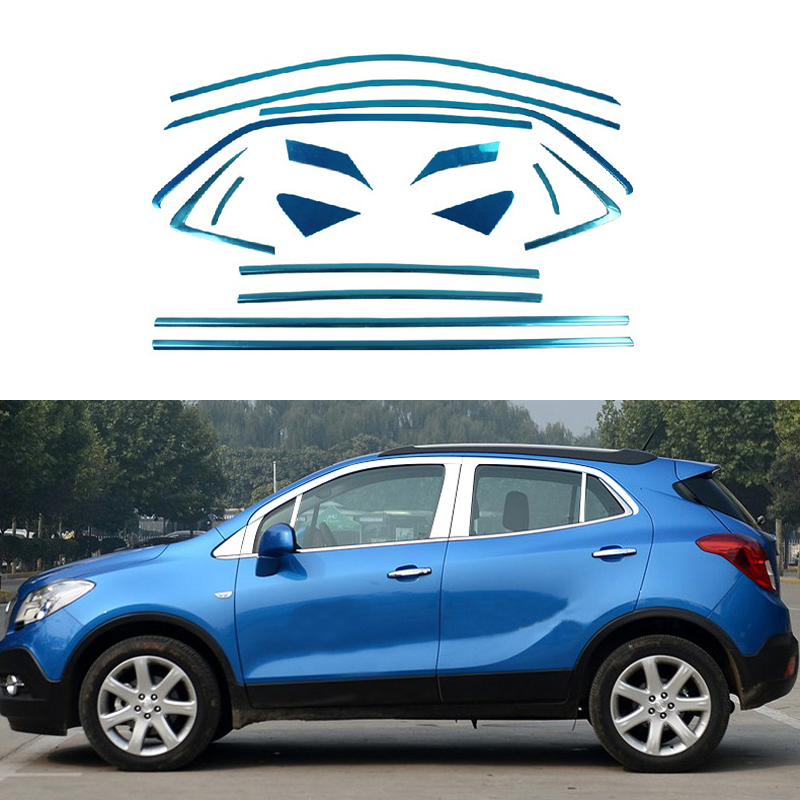 Full Window Trim Decoration Strips Stainless Steel Car Styling Accessories For Opel Mokka 2012 2013 2014 2015 OEM-8-16-24 for vauxhall opel astra j 2010 2014 stainless steel window frame moulding trim center pillar protector car styling accessories