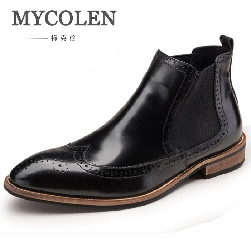 MYCOLEN Shoes Men Winter Boots Casual Genuine Leather Men Boots Fashion Flat Heel Ankle Boots For Male Tenis Masculino Adulto mycolen luxury famous men winter boots quality genuine leather boots men business slip on shoes men ankle boots tenis masculino