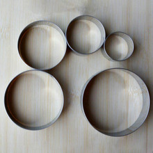 Stainless Steel Biscuit Mould Portable Round Shape Cake Fondant Mold Kitchen Gadgets Baking Accessories Cookie Cutter 5Pcs cheap wu fang Moulds Eco-Friendly CE EU