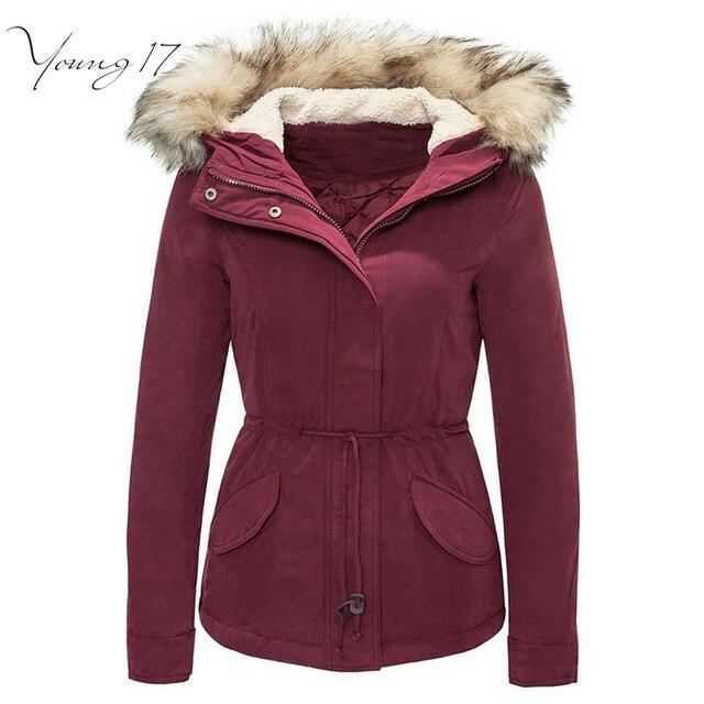 Young17 jaqueta de inverno da capa da pele das Mulheres 2016 longo manga do casaco feminino com bolsos borgonha M L XL das Mulheres de pele com capuz de down jacket