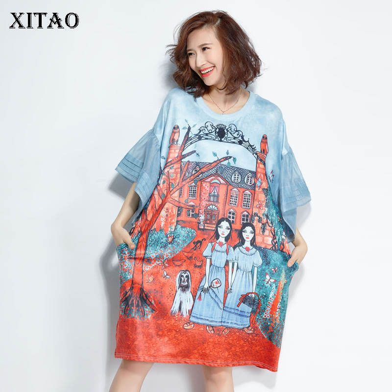 XITAO Preppy Style Summer Mini Dress Women O Neck Cartoon Pattern Print Plus Size Petal Sleeve Dress Summer Clothing New KZH432(China)