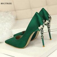 Metal heel Flower High Shoes Silk Elegant Pumps Women Heels Shoes Sexy Thin Heeled Female Pointed Stiletto G9219 2