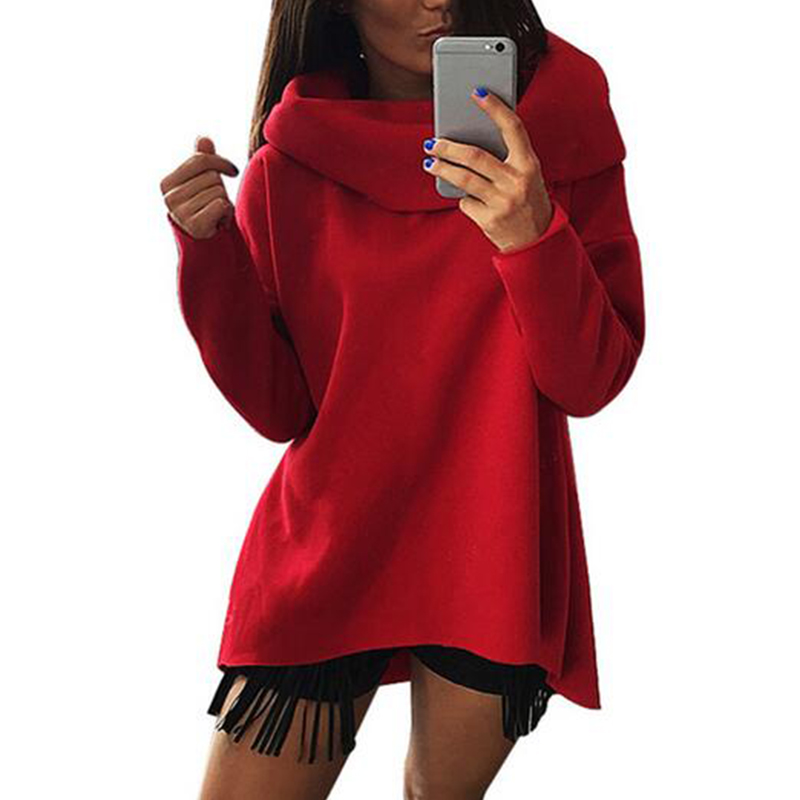 Solid Scarf Collar Women Hoodies Sweatshirts 2017 Long Sleeve Cotton Loose Design Casual Pullovers Female Plus Size Winter 38@/