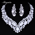 Minmin Luxurious Imitated Gemstone Glass Crystal Wedding Jewelry Sets Bridal Jewelry Sets Necklace Earrings TL005