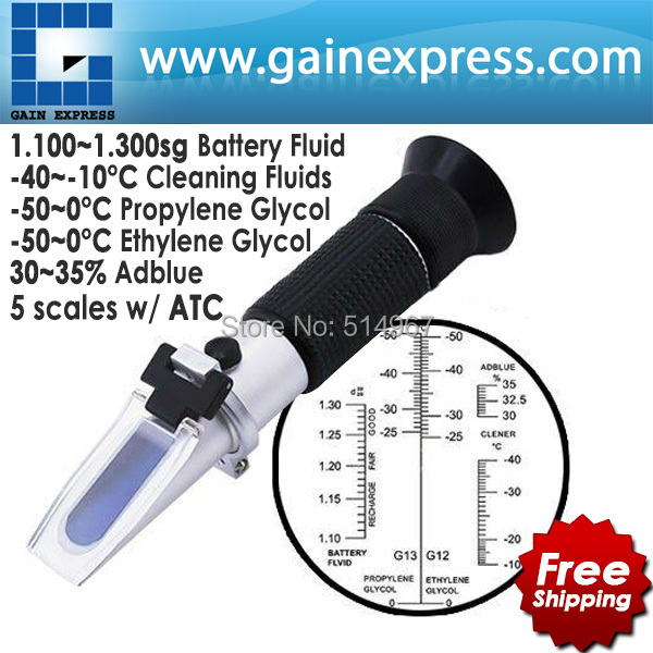 Hand Held Optical 4-in-1 Car Adblue Urea Concentration Testing Refractometer Battery Fluid Ethylene Propylene Glycol ATC hand held optical 4 in 1 car adblue urea concentration testing refractometer battery fluid ethylene propylene glycol atc