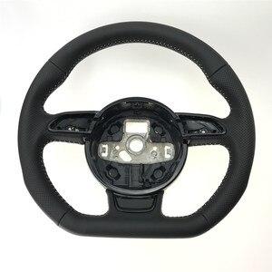 Image 5 - NoEnName_Null dla Audi A3 A4 A5 A6 A7 Q3 Q5 Q7 w pełni perforowana kierownica płaska podeszwa kierownica kampania