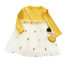 New Girls Baby Long Sleeve Pineapple Print Princess Dress Mesh Paneled Puff Dress Casual Outfit Kids Children's Clothing #LR5 mesh paneled paint splatter gym suit