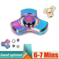 Colorful Ceramic Bearings Tri Fidget Spinner Torqbar Brass Finger Toy EDC Focus Hand Spinner ADHD Austim