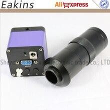 Бесплатная доставка 5-МП CCD камеры Микроскопа + 130X C-Mount объектив VGA Выходной Интерфейс высокоскоростной 60 Кадров Для Промышленности лаборатория
