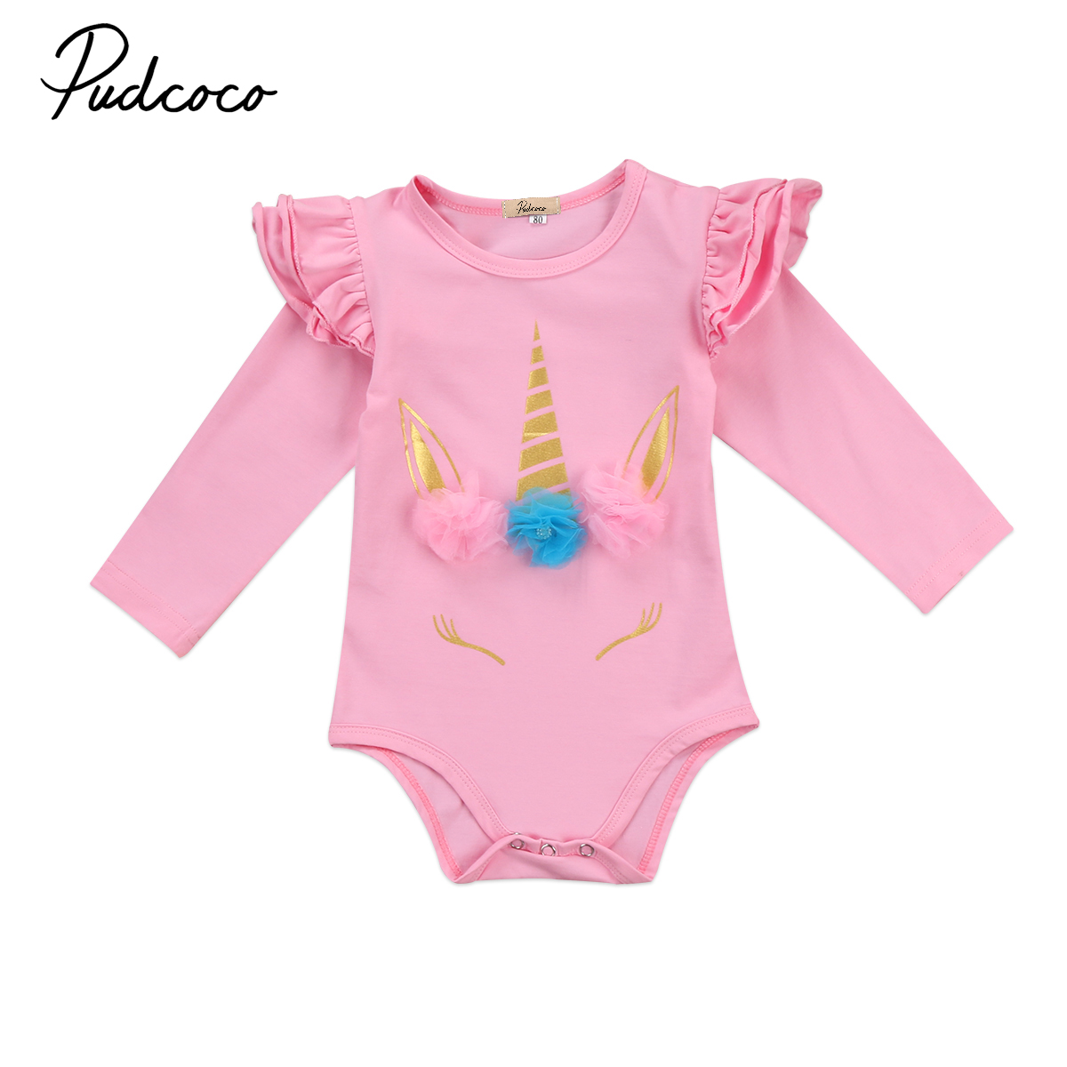 Pudcoco Toddler Infant Kids Baby Girls Cotton Unicorn Romper Long/Short Sleeve Summer Autumn Clothes Outfits One-Piece baby girl 1st birthday outfits short sleeve infant clothing sets lace romper dress headband shoe toddler tutu set baby s clothes