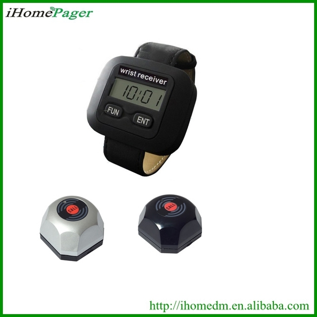 5PCS service buzzer 1 pcs watch receiver Waiter Paging System electric restaurant customer service equipment