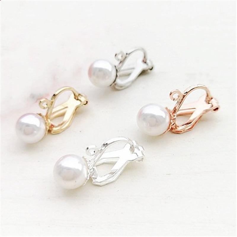 Us 3 39 32 Off 10pcs Lot Pearl Ear Clips Earrings No Piercing Earring Wire Hooks For Jewelry Findings In