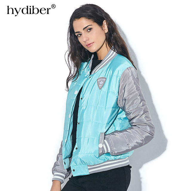 HYDIBER Patchwork Women Winter Jacket 2017 New Fashion Spring Autumn Cotton Bomber Jacket Elastic Hem Overcoat Warm Slim Coats