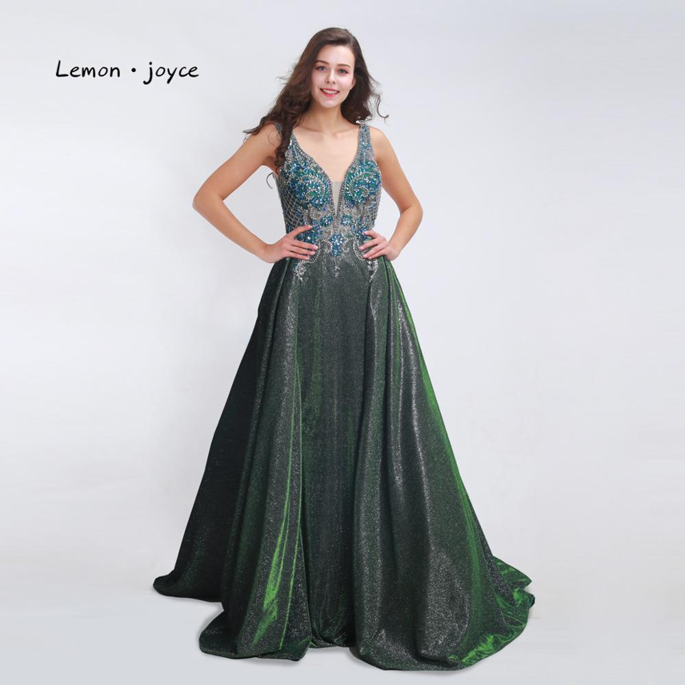 Image 2 - Lemon joyce Elegant Long Prom Dresses 2019 Sexy V neck Backless Beading Shiny A line Evening Gowns Plus Size vestidos de gala-in Prom Dresses from Weddings & Events