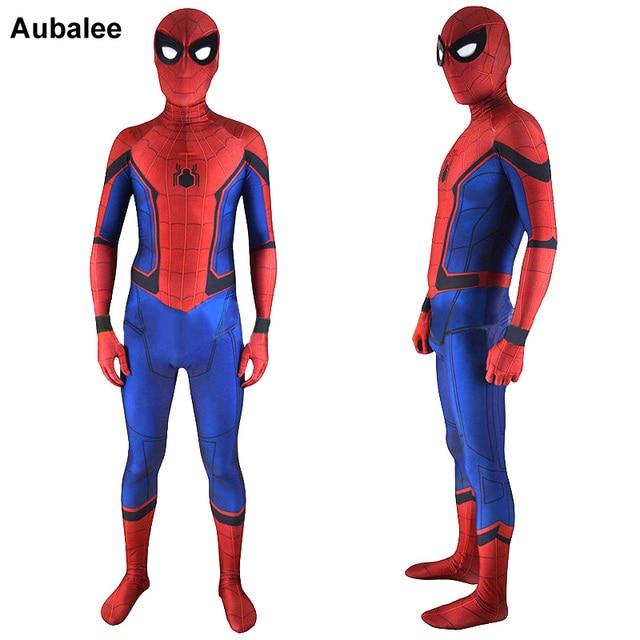aubalee spiderman cosplay costume for men adult 2018 new movie spiderman homecoming superhero. Black Bedroom Furniture Sets. Home Design Ideas