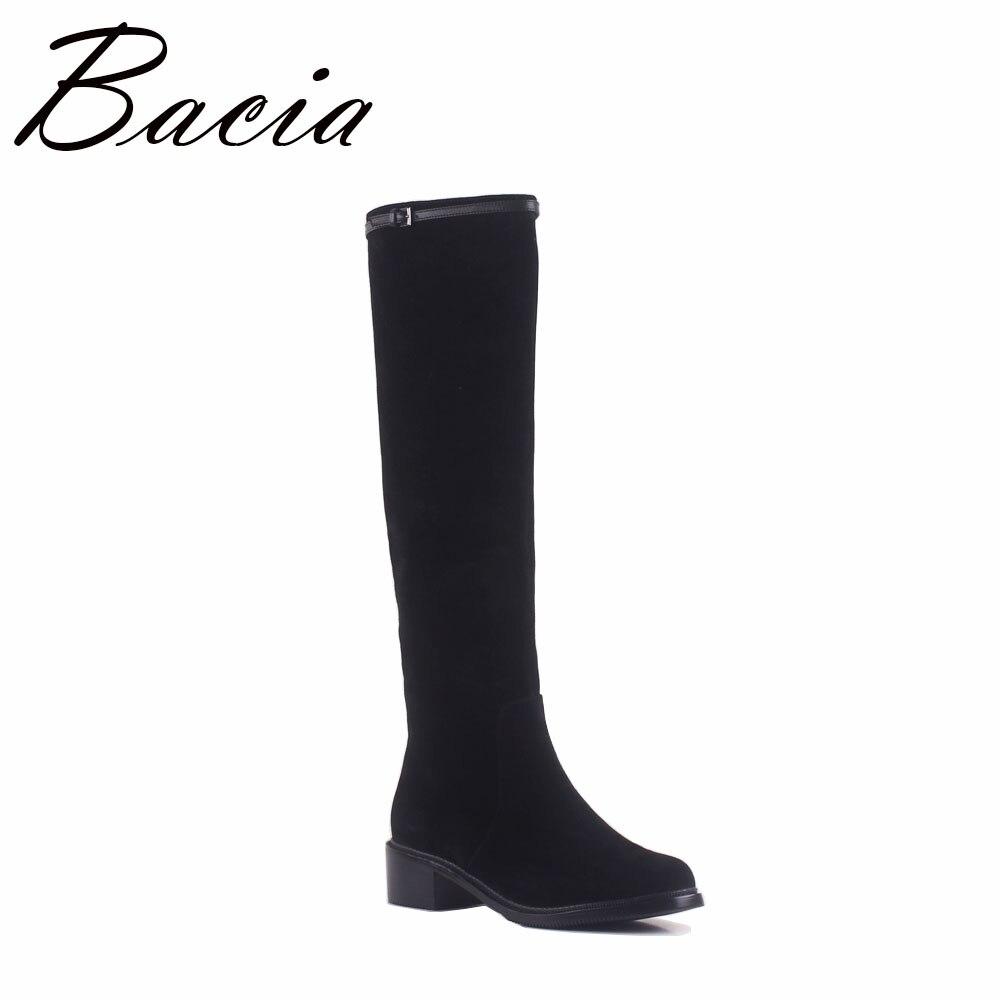 Bacia Style De Mode Automne Genou Haute Bottes Femme En Cuir de Haute Qualité Moutons Daim Femmes Bottes Sexy Dames Noir Chaussures SA049